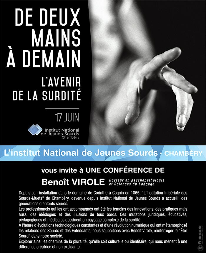 Invitation à la conférence de Benoît Virole L'avenir de la surdité