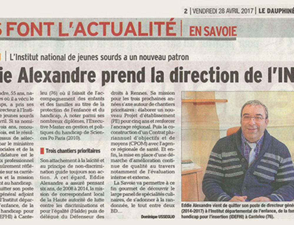 Dans son édition du 28 avril 2017, le Dauphiné Libéré annonce la nomination d'Eddie Alexandre à la tête de l'INJS