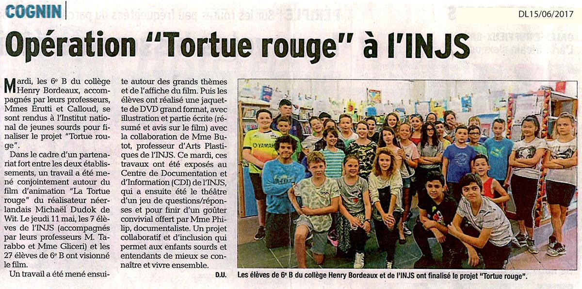 """Article paru dans le Dauphiné Libéré du 15 juin 2017 à l'occasion du partenariat entre l'INJS et Le collège Henry Bordeaux de Cognin autour du film d'animation """"La Tortue Rouge"""""""