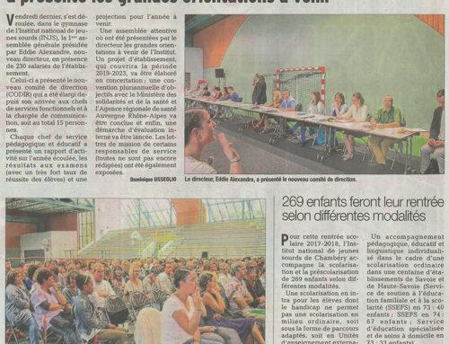 Assemblée générale de rentrée de l'INJS : l'article publié par le Dauphiné Libéré